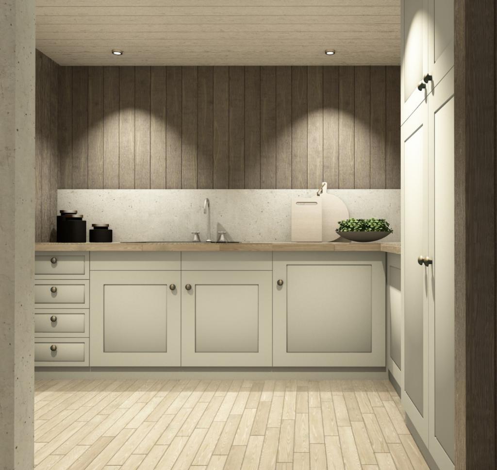 Kjøkkenløsning i hvitt på hytta