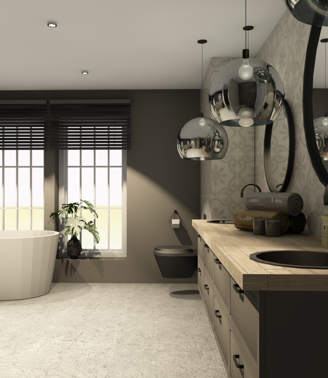 baderom med badekar, vask og belysning