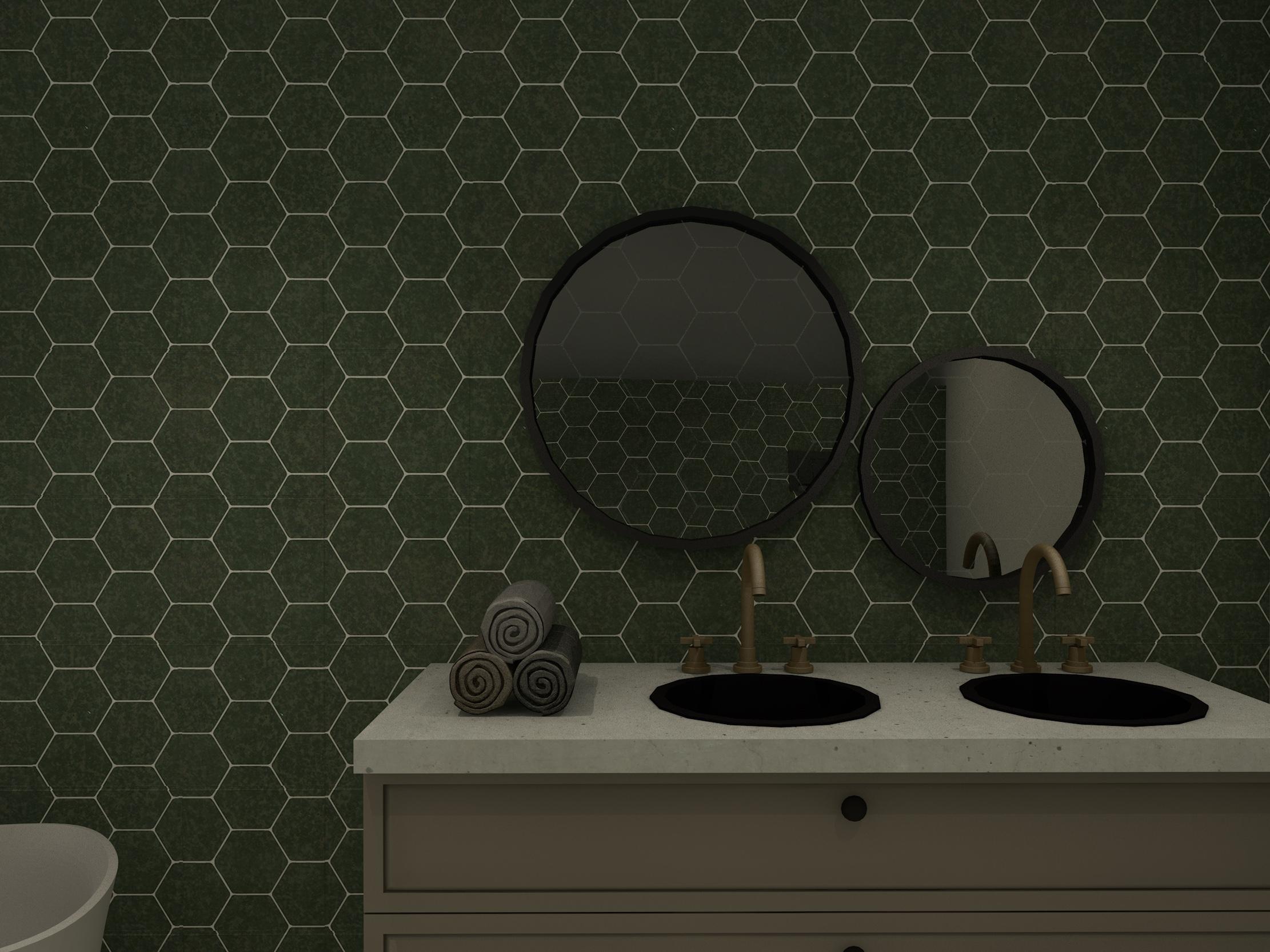 baderom med speil, vask og grønne fliser