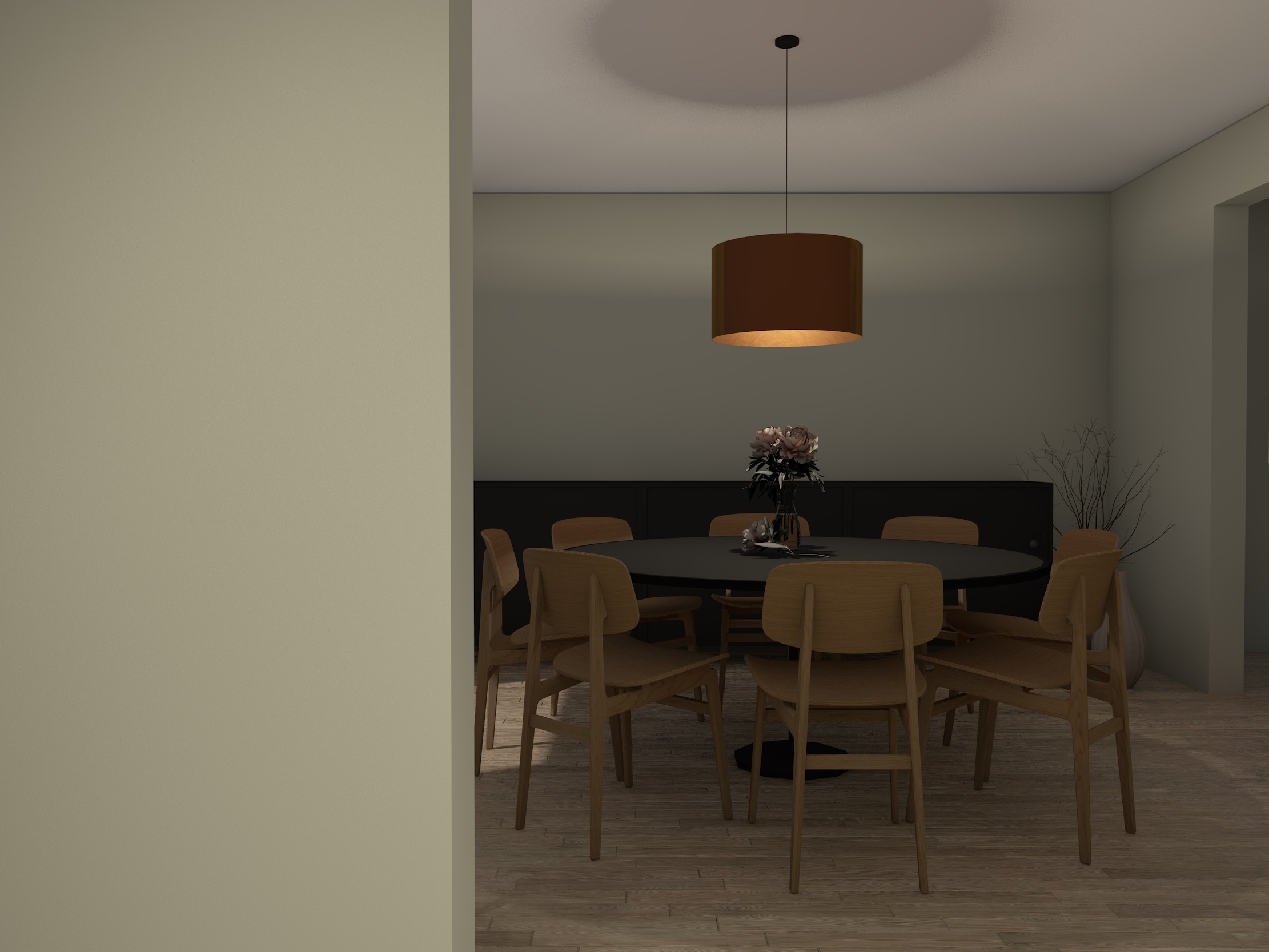 Spisestue med stoler og belysning