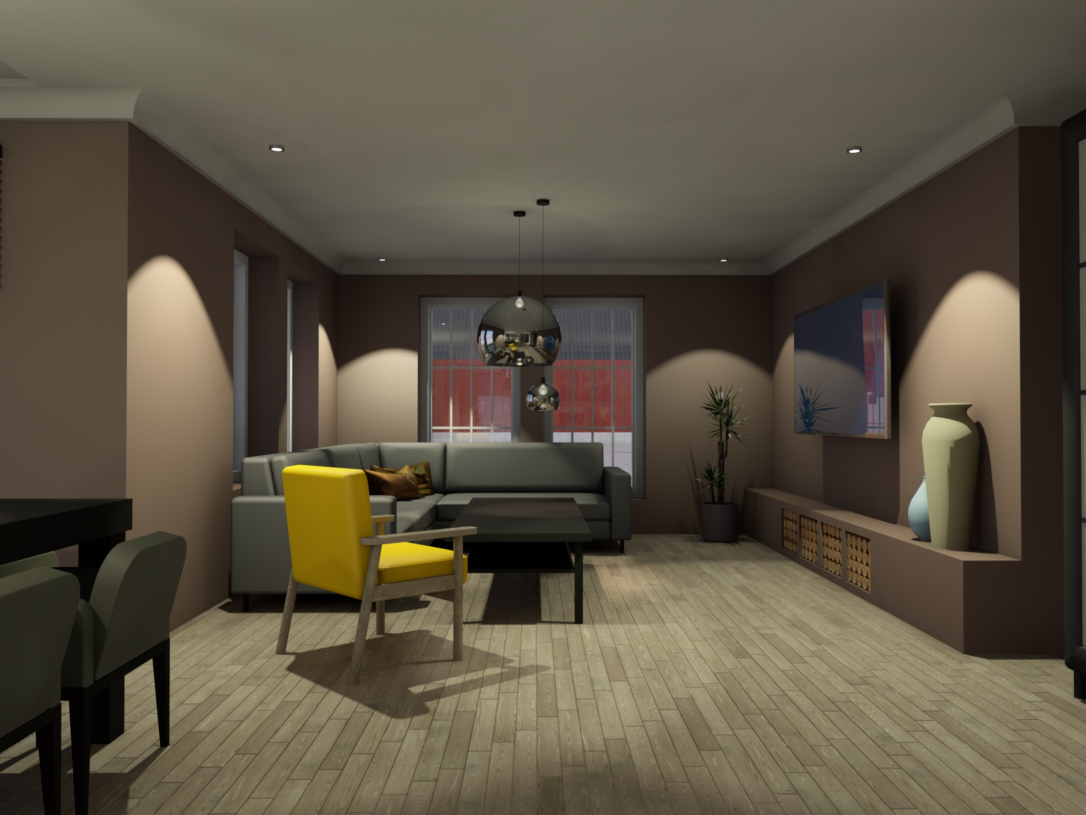 Stue med møblering og gul stol